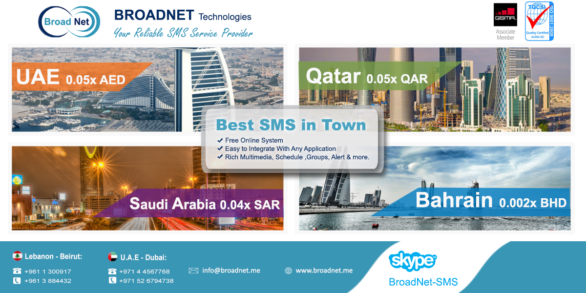BroadNet Technologies Launches Most Affordable Bulk SMS and Reseller Programs for Middle East Customers
